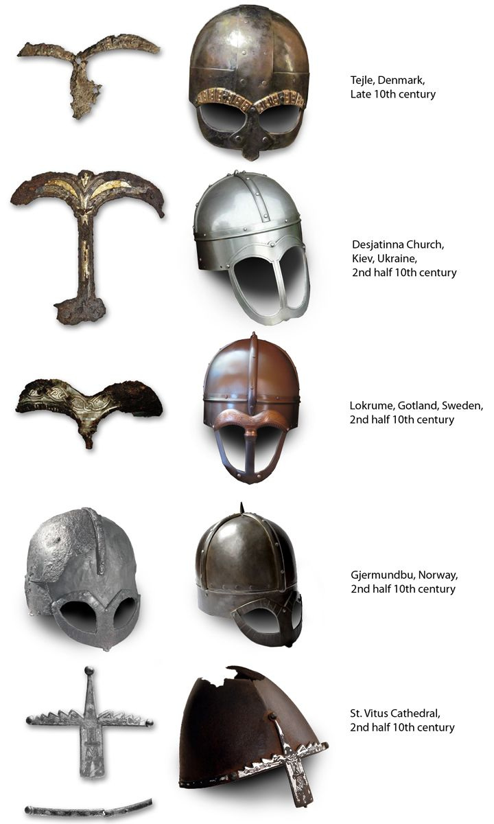 An overview of Norse helmet finds. Apart from the Gjermundbu helmet there are also three surviving (and much less known) mask fragments. The domes of the reconstructions are educated guesses. The St. Wenceslaus helmet (bottom) was probably made in Germany but decorated on Gotland. All the helmets have flashy decorations. The purpose of the mask was probably to prevent the wearer from being recognised and haunted by the spirits of those he kills, a superstition that died out with…