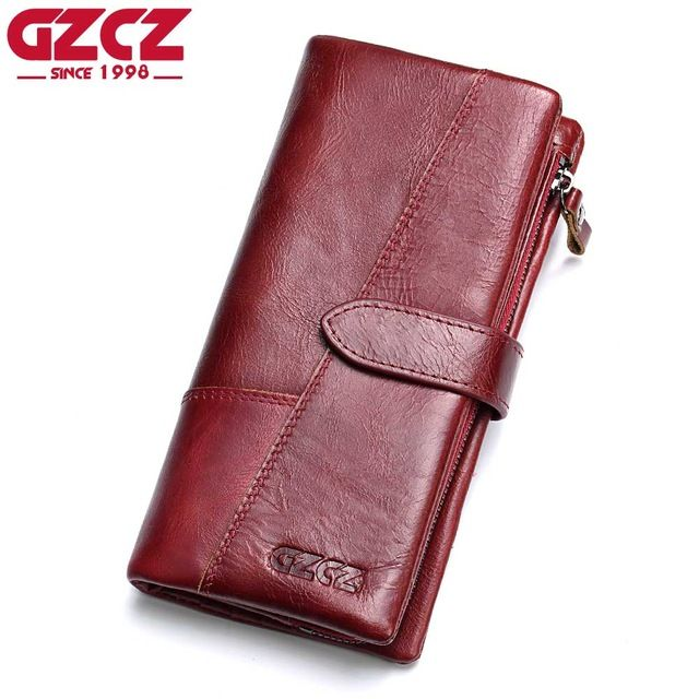 Best Sellers $17.56, Buy GZCZ Genuine Leather Women Wallet Lady Long Wallet Female Coin Purse Clamp For Money Women'S Purse Clutch Handy Portomonee Rfid