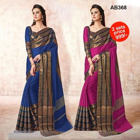 COMBOS-Women's Beautiful Cotton Embroidered Saree With Blouse - SRP-MARRIGE BLUE , SRP-MARRIGE PINK