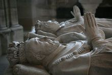 Tombs of Henry II of France and his wife Catherine de' Medici in Basilica of St Denis, Paris.