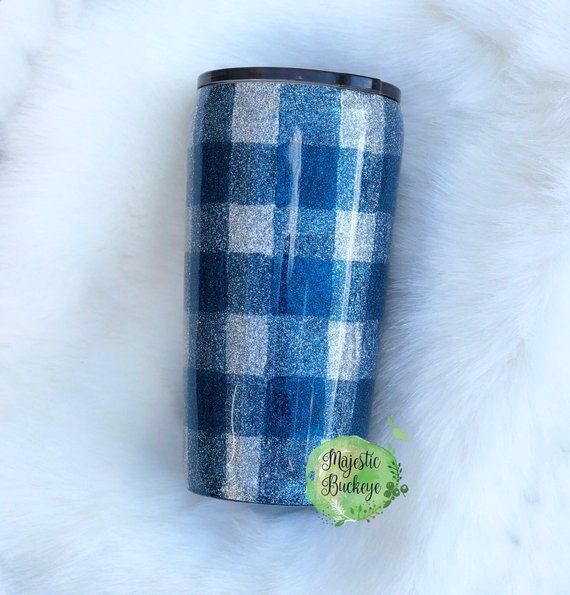 Yeti Cup Prices >> Glitter Plaid Tumbler - Sapphire and Silver | Products ...