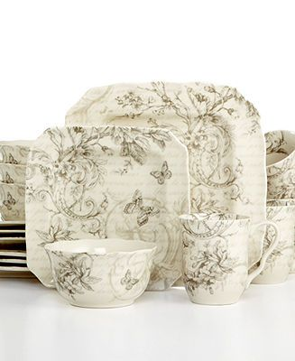 222 Fifth Dinnerware, Love Poem 16 Piece Set - Casual Dinnerware - Dining & Entertaining - Macys