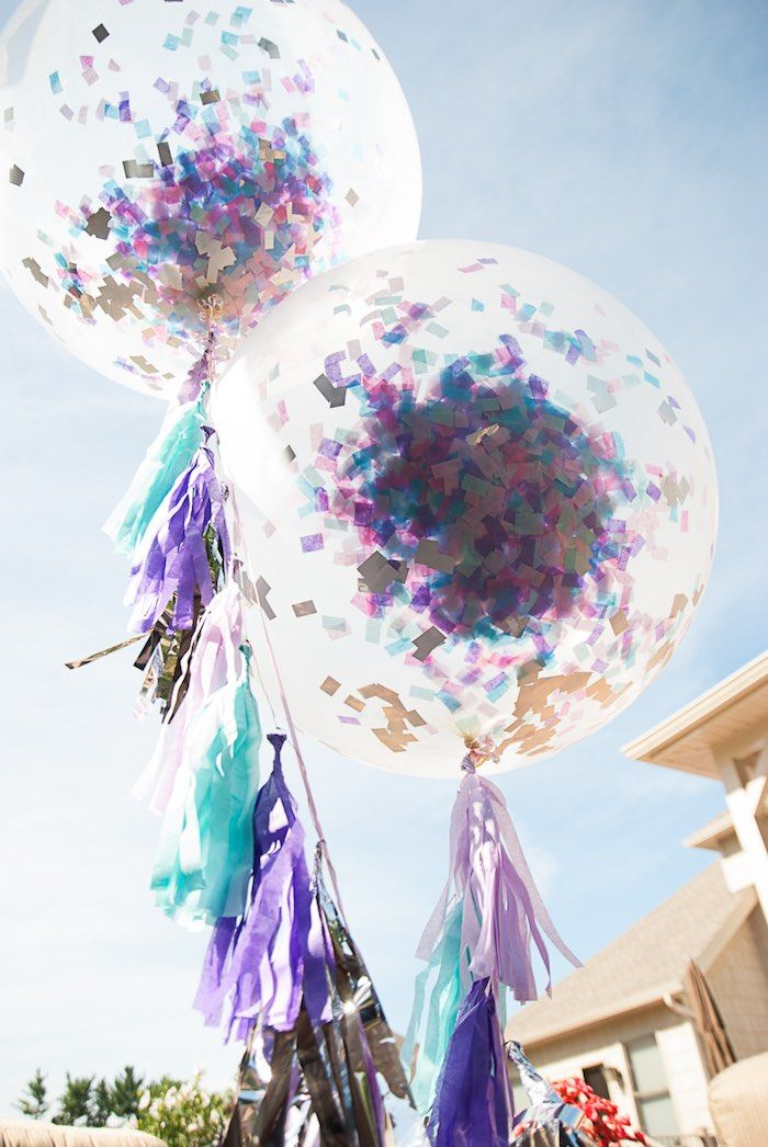 Oversized Confetti Tassel Balloons from a Turquoise & Purple Modern Glam Frozen Birthday Party via Kara's Party Ideas KarasPartyIdeas.com (22)