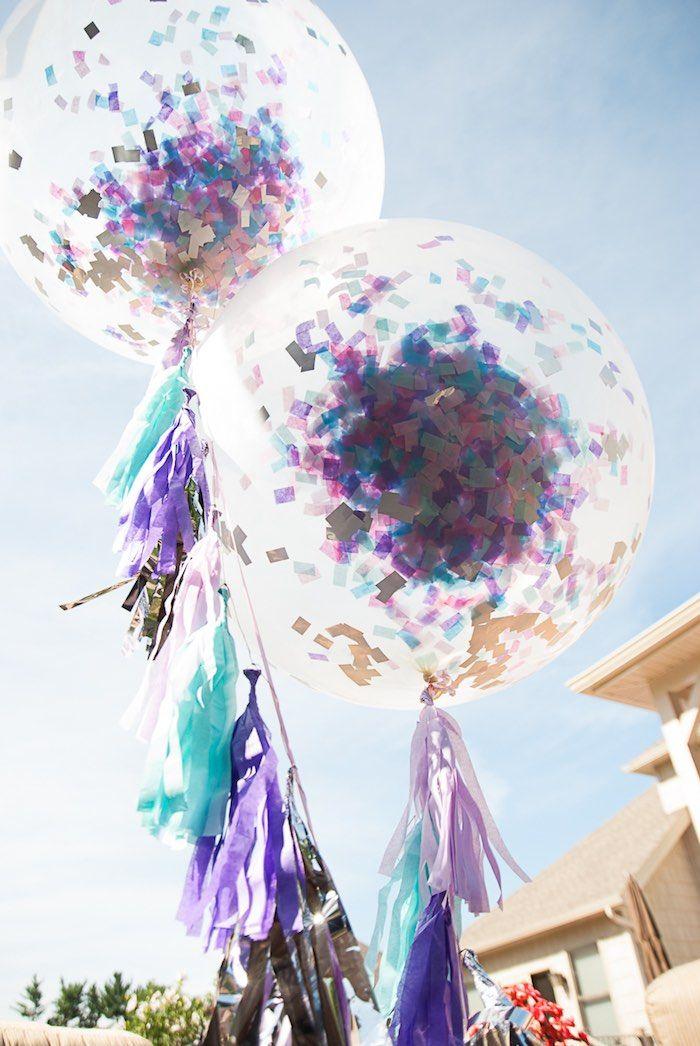 Oversized Confetti Tassel Balloons from a Turquoise & Purple Modern Glam Frozen Birthday Party via Kara's Party Ideas KarasPartyIdeas.com (22)