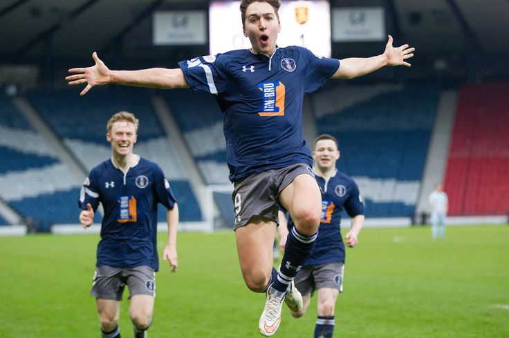 Queen's Park's Dario Zanatta celebrate his goal during the Ladbrokes League One game between Queen's Park and Livingston.