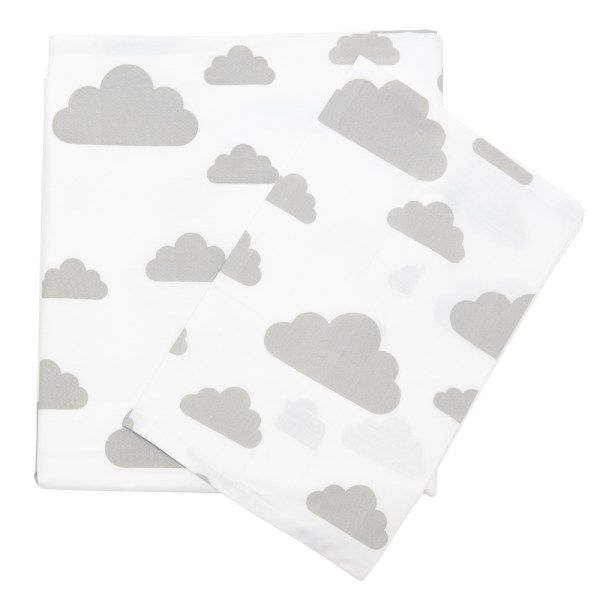 Bedding Set - Cloud | 100% Cotton Percale | Available: Standard Cot Size Duvet cover (incl pillowcase) | Single Bed Duvet cover (incl pillowcase) | Fitted Sheet size: 130 x 64 x 10 cm | Baby Duvet Size: 80 x 120 cm | Pillow Size: 30 x 40 cm | Colour: Grey on white / Black on white