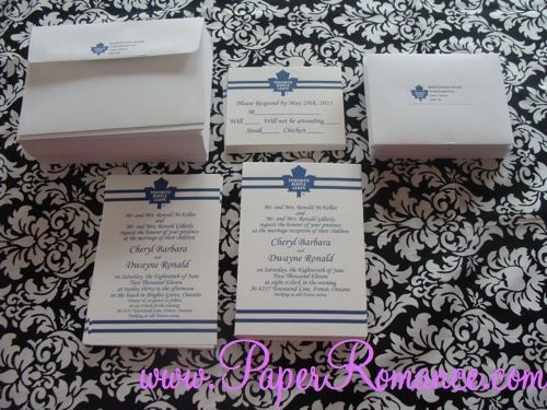 Toronto Maple Leaf Invitations!  Wedding!  Order online.  $3.00/set www.paperromance.com
