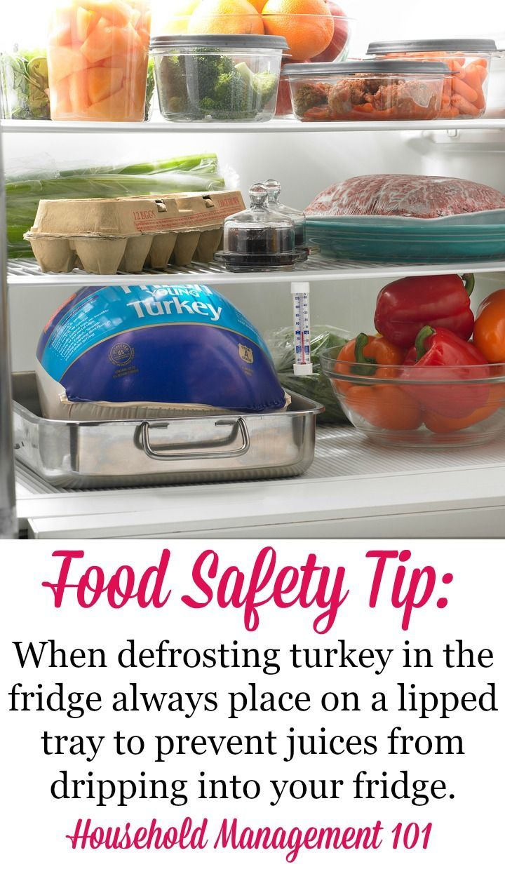 Food safety tip when defrosting turkey in the refrigerator to keep raw turkey juice drippings from getting on any other food or the fridge itself. You can get full instructions for how to thaw turkey safely in the article on Household Management 101.