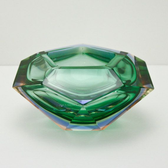 Murano Cased Geode Bowl Blue Green Mid Century Faceted Glass Sommerso  #PaulasLoft  #Murano #Geode #Bowl #Blue #Green #MidCentury #Faceted #Glass #Sommerso