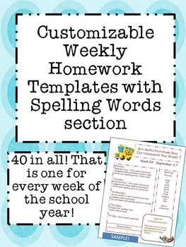 This download is for a Microsoft Powerpoint document that is customizable with your information!  It is a year's worth of homework templates for your classroom! I hope this makes one of the mundane tasks of the week a little more exciting for you and the students!
