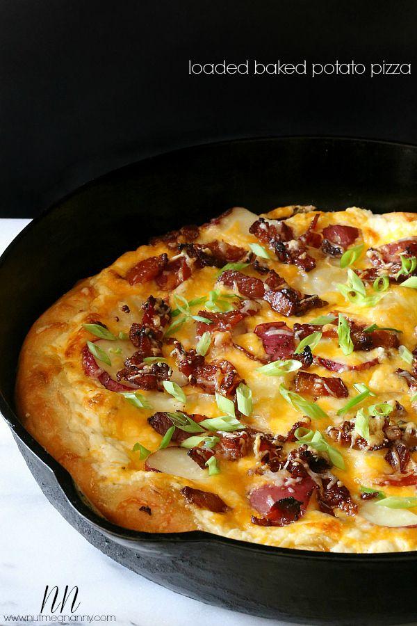 Baked Potato Pizza - Potato, cheese and bacon!