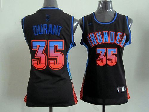 Thunder #35 Kevin Durant Black Women's Vibe Embroidered NBA Jersey,NBAJERSEYS_ZNIHZHB248,