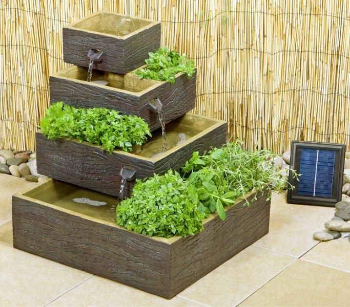 Dalton Square 4 Tier Solar Water Fountain Cascading Herb Planter Dark Wood Solar Water Fountain Fountains Outdoor Water Fountain Design