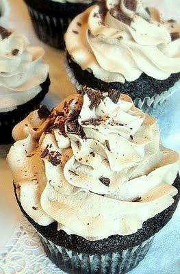 Deep Dark Chocolate Cupcakes with Fluffy Mocha Buttercream . . .