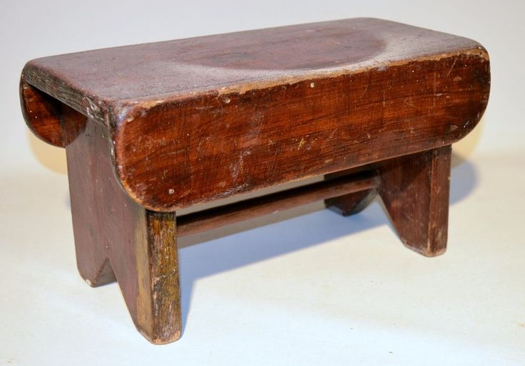 Antique Vintage Wood Stool Garden Bench Milking Stool