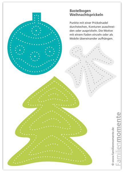 Weihnachtsmobile - Bastelbogen zum Prickeln - Baum / Kugel / Engel Grün/Türkis/Grau
