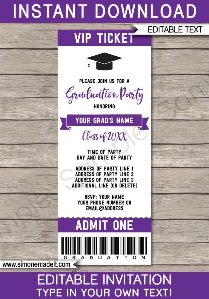 Graduation Party Ticket Invitations Template  Invitation Ticket