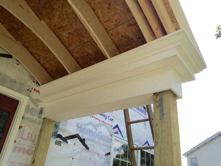 Close Up Of Versatex Pvc Trim On Portico Diy Front Porch