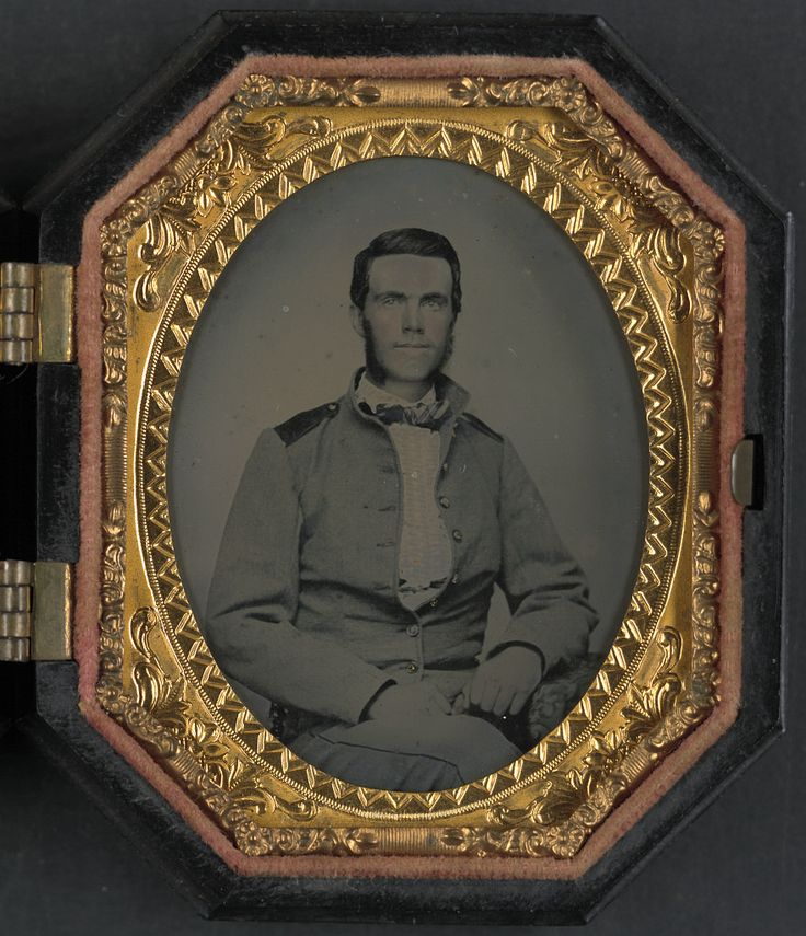 (c. 1861-1865) Soldier in Confederate uniform with jacket issued to North Carolina troops