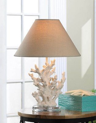 white Coral beach statue ocean nautical bedside end med Table Lamp base & shade