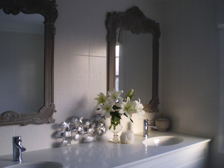 The House That AM Built: Chic ensuite with twin gray ornate mirrors, white double bathroom vanity with marble ...
