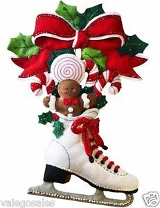 Bucilla-Felt-Applique-Home-Decor-Wall-Hanging-Kit-HOLIDAY-SKATE-86676-Sale