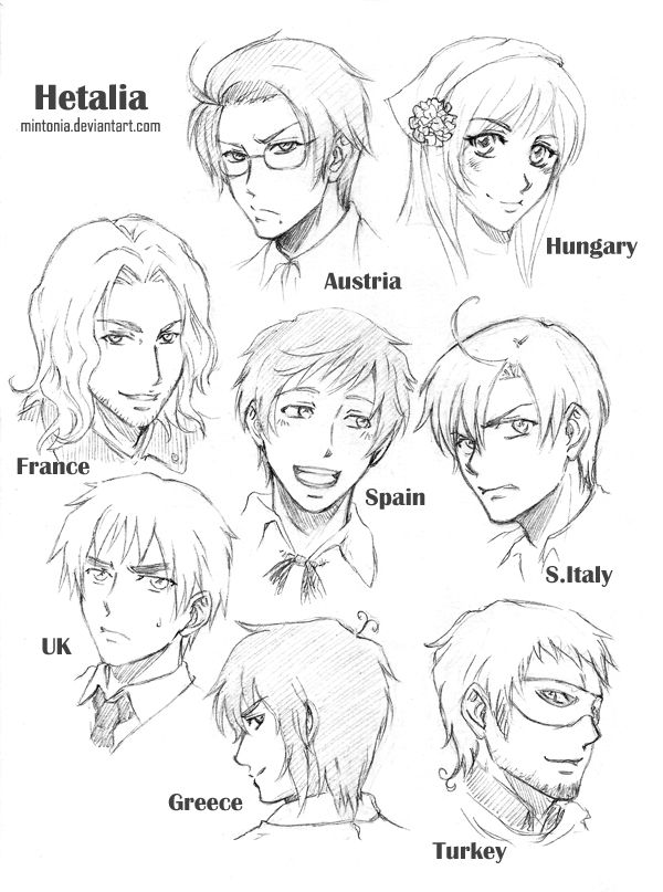 Hetalia Sketches Page 2 By Mintonia On Deviantart Hetalia Coloring Pages