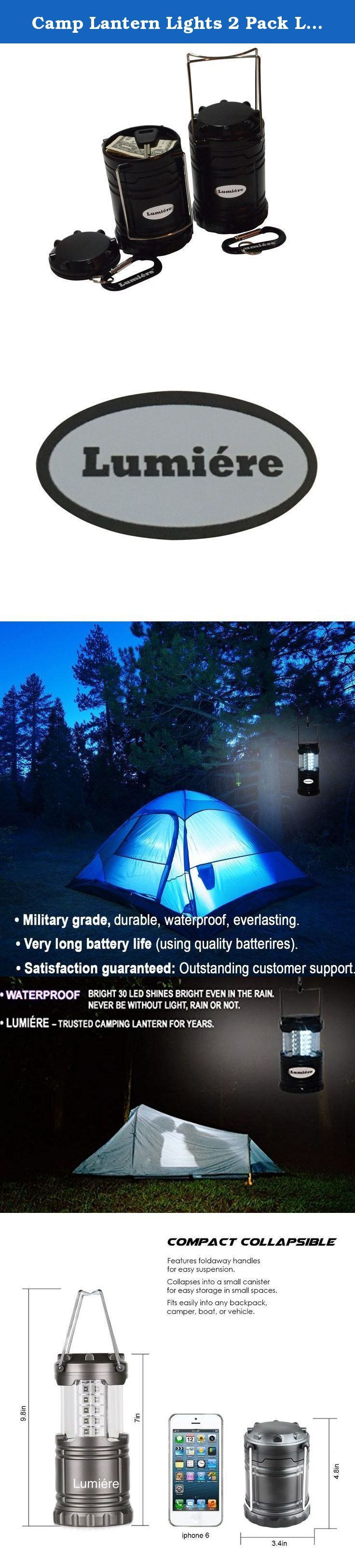 Camp Lantern Lights 2 Pack LED Black Battery Operated Portable and Collapsable Ideal for Boats Camping Backpack Emergencies Hurricane Power Outages Bedside Road Side Room Batteries Not Included. ARE YOU INTO CAMPING, BOATING OR BACKPACKING? OR SIMPLY NEED A LANTERN FOR EMERGENCY SITUATIONS, HURRICANE, POWER OUTAGES OR A HANDY NIGHT LIGHT? OUR LUMIERE LED CAMP LANTERN IS THE ANSWER TO YOUR LIGHTING REQUIREMENTS - You get two camping lanterns to ensure you never run out of light at your…