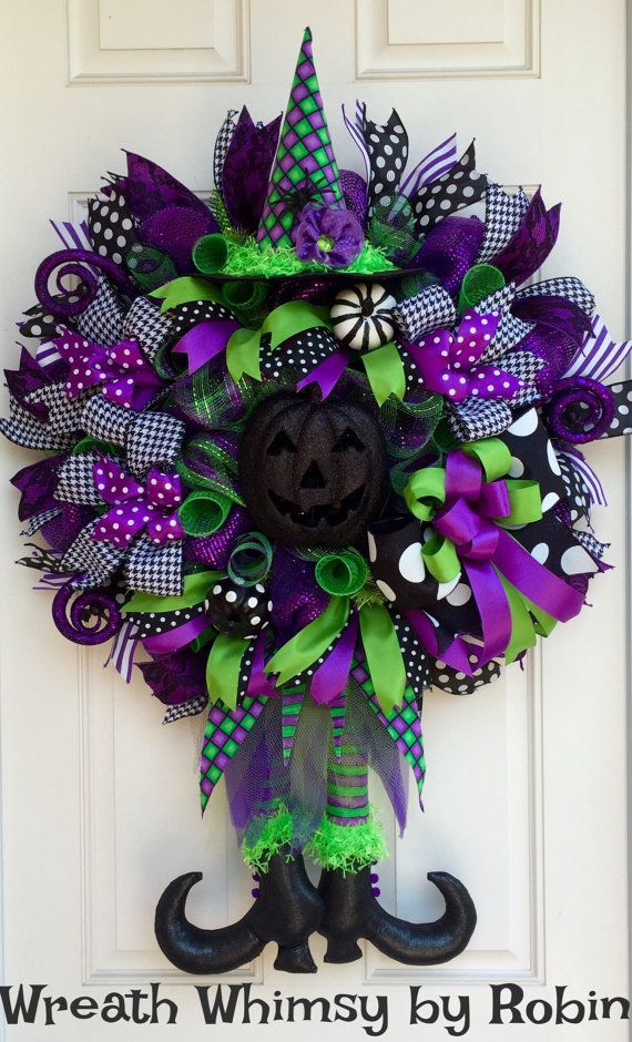 Halloween Lime Purple & Black Deco Mesh Witch Wreath Fall