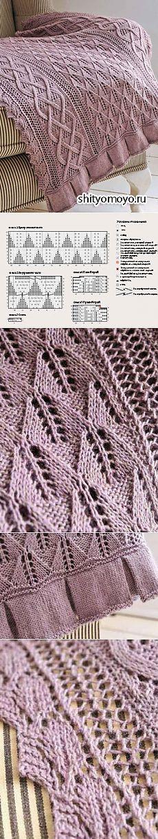 Плед, связанный спицами. Описание и схемы вязания бесплатно/Пледы. Покрывала. Подушки/Вязание/Статьи / Шитье, вязание, рукоделие, бисероплетение