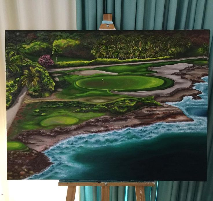 """45 Likes, 1 Comments - Yana Ed 🍦drawings & paintings (@artist.yanaed) on Instagram: """"Casa de campo golf oil painting 40x30 inch. #oil #oilpainting #canvas #canvaspainting #golf…"""""""