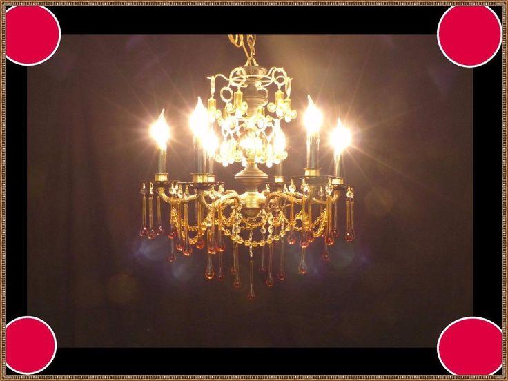 Vintage European Brass Spectacular Crystals Chandelier Black Accents WOW LQQK   eBay