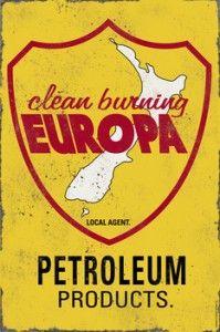 Clean Burning Europa Tin Sign $50