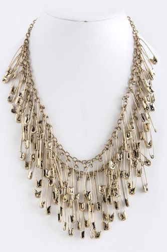 D27 Antiqued Gold 2 Tiered Safety Pin Cluster Statement Necklace