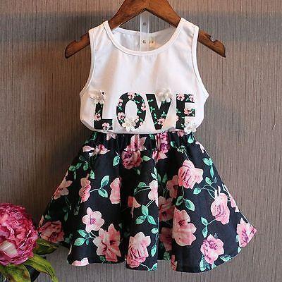 2016 2 PCS Do Bebê Dos Miúdos Meninas Da Criança Tanque T-shirt Tops e Saia Vestido Set Roupas Roupas