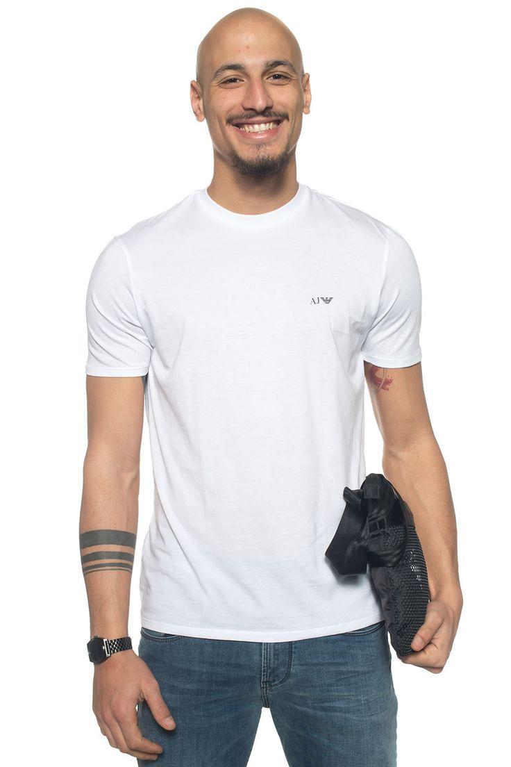 Armani Jeans  , Set 2 T-shirts , manica corta , logo sul petto , tinta unita , vestibilità slim , colore: bianco , composizione: 100% cotone , linea: ARMANI JEANS , il modello indossa la taglia: M  - Euro 75