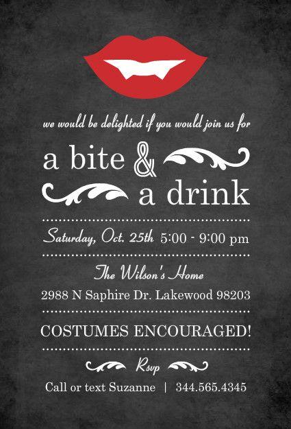 Vampire Chalkboard Halloween Party Invitation