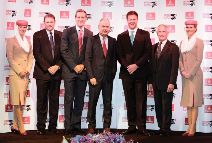 2013 Emirates Rugby Long Lunch #Longlunch #dubai7s (left to right): Graham McNally, Master of Ceremonies; Will Greenwood, Guest Speaker; Thierry Antinori, Executive Vice President and Chief Commercial Officer, Emirates; Bobby Skinstad, Guest Speaker, Jim Fitzsimons, Tournament Director, Emirates Dubai Rugby Sevens.