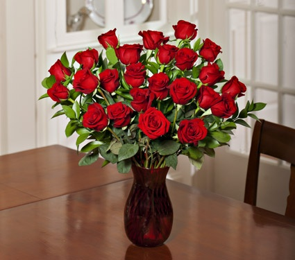 NEW! White Flower Farm Classic Red Rose Bouquet with Vase - White Flower Farm