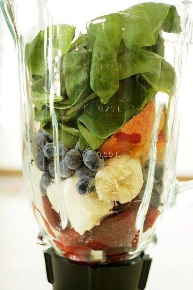 Healthful Breakfast Smoothie: 1 banana 4-5 strawberries 1/2 cup blueberries Splash of almond milk Handful of spinach leaves 1 TBS Greek yogurt 2 tsp honey Crushed ice.