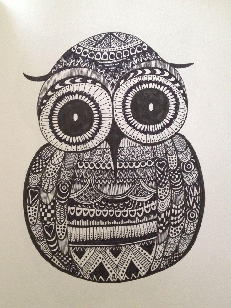 Owl Zentangle - ©Bec Bennett | My Own ArtWork | Pinterest ...