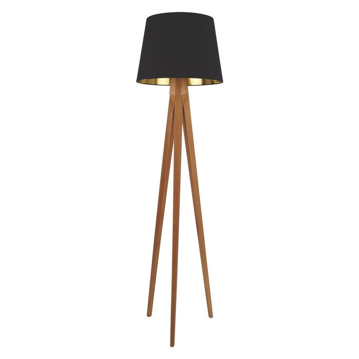 TRIPOD Wooden tripod floor lamp with black and gold shade