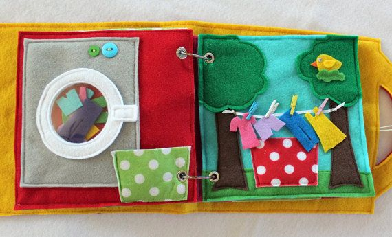 """NEW!  """"Laundry Day"""" 2 Page Quiet Book Activity to Create and Expand your Custom Hand-made Quiet Book!"""