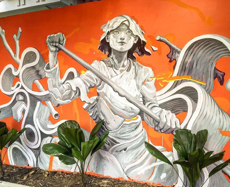 James Jean mural with David Choe's Igloo Hong art project in Phnom Pehn…