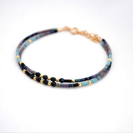 """Bracelet """"Blue roan/Rouan bleu"""" Collection Automne hiver 2015 """" Running Wild /Courir sauvage """"  Bracelet double bohème et minimaliste en perles de rocaille miyuki, verre de boh - 16450212"""