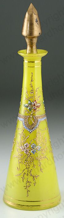 ANTIQUE GLASS: DRESSING TABLE BOTTLE, SETS, BOXES, POTS, & RELATED. c.1890 BOHEMIAN FLORAL ENAMELLED CASED YELLOW GLASS SCENT PERFUME BOTTLE. To visit my website click here: http://www.richardhoppe.co.uk or for help or information email us here: info@richardhoppe.co.uk