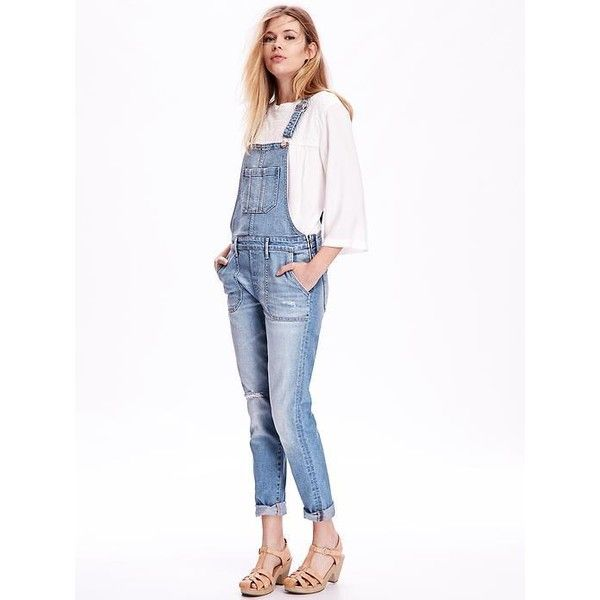Old Navy Skinny Denim Overalls ($45) ❤ liked on Polyvore featuring jumpsuits, eureka, white overall, white jumpsuit, denim skinny jeans, white bib overalls and white overalls