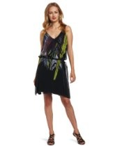 Calvin Klein Jeans Women's Petite Tropical Leaf Print A-Line Dress