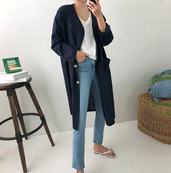 loose long cardigan /  linen loose jacket with pockets / linen long robe / plus size cardigan / line 1