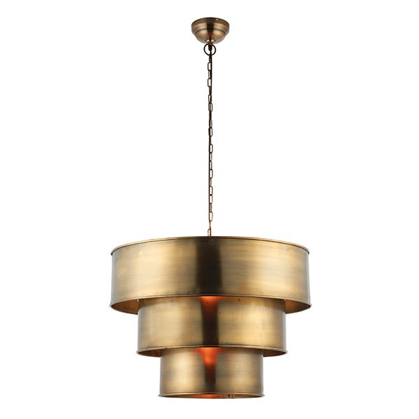 An eye catching pendant formed from 3 cylindrical tiered shades all hanging from a metal